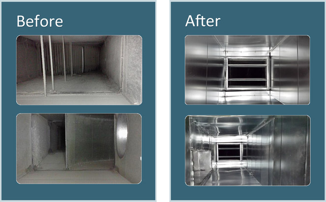 before and after HVAC system clean
